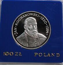 1980 Poland Polen 100 zl zlotych Silver 625  Jan Kochanowski