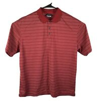 NIKE GOLF Mens DRY-FIT Polo Shirt Size XL Red White Striped Embroidered Swoosh
