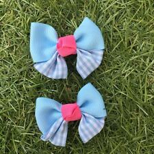 2x Baby Toddler Girl Hair Clips pairs packed BOWtique Alligator -Pink & Blue