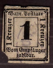 1870 Germany Bavaria, 1Kr, Postage Due Stamp, Used Cv 800€
