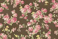 Cottage Shabby Chic RURU Bouquet Rose Spray Cotton Fabric RU2200Y-17F Cocoa BTY