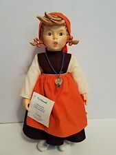 "1983 M.I. Hummel Goebel Porcelain Doll 15"" Soft Body ""On Holiday"" Girl With Tag"