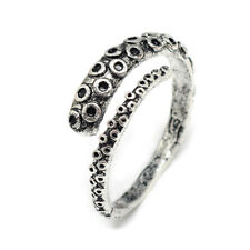 Alloy Finger Ring Octopus Adjustable Antique Silver Size 10 Adjustable 20mm P436