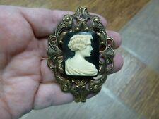 (CM45-7) UNUSUAL ART DECO Style LADY black + ivory rectangle CAMEO Pin pendant