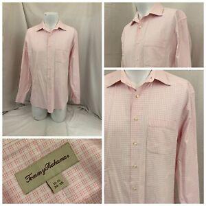 Tommy Bahama Dress Shirt 15.5 34/35 Pink Check 100% Cotton YGI V1-606