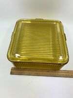 """Large Refrigerator Box / Dish 8 1/2"""" FEG37 Amber by Federal Glass Vertical Lines"""