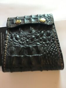 Genuine Crocodile Wallet with secure buttons  Black