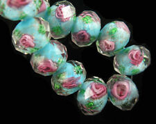 10 Sky Blue Glass Crystal Rose Flower Inside Lampwork Beads 12mm Spacer Findings