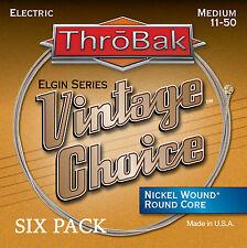 6 Pack ThroBak Vintage Choice Nickel Wound Electric Guitar Strings Med. 11-50
