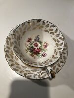 VTG Tuscan Fine English Bone China Exquisite Tea Cup & Saucer Gold Trim Footed