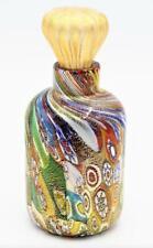 High Quality Elegant Murano Art Glass Bottle & Stopper Millefiori & Gold Dust