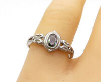 925 Sterling Silver - Vintage Petite Oval Green Topaz Band Ring Sz 8.5 - R16071