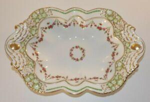 Antique George Jones Sons Annette Swag Design Gilded Oval Serving Dish c1910 VGC