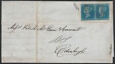 1841 SG14 2d BLUE PLATE 3 PAIR COVER STUARTON 303 SINGLE TO EDINBURGH (KE/KF)