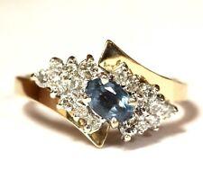 14k yellow gold .46ct SI1 H diamond blue kunzite ring 4.5g estate vintage