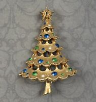 Vintage MYLU Green and Blue Rhinestone Brushed Gold Christmas Tree Brooch