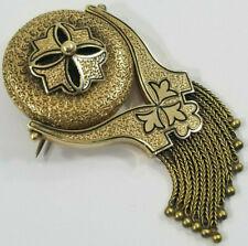 Antique 14K Gold Taille D'Epargne Enamel Tassel Pendant Brooch Swivels