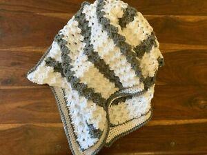 baby handmade crochet blanket GREY & WHITE cot pram car rug cradle SUPERSOFT