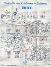 Herge Tintin essuie cuisine Calendrier Scouts Belgique 1986