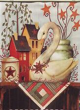 "Swan House Fall Garden Flag Autumn Primitive Stars Berries Decorative 12"" X 18"""