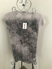American Age Sheer Paisley Junior T-Shirt New with Tags Size L