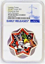 2018 Looney Tunes Christmas Tree Star Shaped 1oz Silver $1 coin NGC PF69 ER
