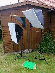 2-er-Set Fotostudio Beleuchtung / Softboxen mit Greenscreen und Tragetasche