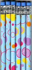 Colorful circles on blue colored pencils. Set of 6!
