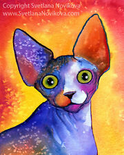 ART PRINT Funny Colorful Sphynx Cat painting Svetlana Novikova signed
