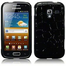 Black Croc PU Leather Hard Back Case Cover For Samsung Galaxy Ace 2 i8160
