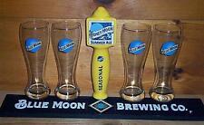 BLUE MOON SUMMER ALE TAP HANDLE KEG MARKER 4 BEER PINT GLASSES & BAR MAT NEW