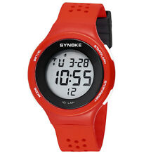 Unisex Multi-function Waterproof LED Silicone Digital Date Sport Wrist Watch Red