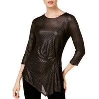 VINCE CAMUTO NEW Women's Metallic Knit Draped Blouse Shirt Top TEDO