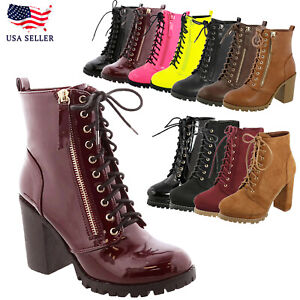 New Women's Almond Toe Lace-Up Chunky High Heel Moto Combat Ankle Boot Bootie