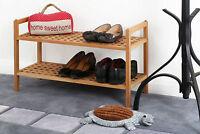 Amazing New Style 2 Tier Shoe Storage Rack Natural Walnut Wood Solid Shoe Rack