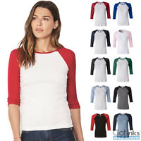 Bella Womens Baby Rib Ladies Raglan 3/4 Sleeve Slim Fit T-Shirt Baseball Tee
