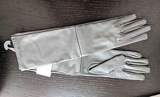 """Pewter Silver 15.5"""" Long Leather Gloves Nylon Lining Size M *NEW*"""