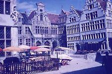 ROLOC Vintage Slide Belgium Villlage Uilenspiegel Square Cart Stores Cafe 1950s!