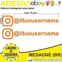Kit 2 Adesivi Instagram username Nome Divertente Auto Adesivo Mood ARANCIONE