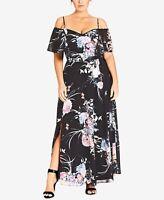 City Chic Women's 16w Plus Size Floral-Print Maxi Dress, Black, NwT