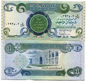 Rare Iraq 1984 UNC 1 Dinar Banknote P69 Paper Money
