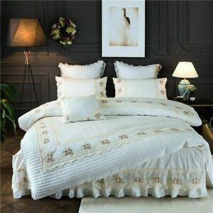 4Pcs Cotton Quilted Lace Bedding Sets Duvet Cover Set Bed Skirt Set Pillowcase