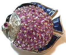LEVIAN 18K WHITE GOLD RUBY PINK & BLUE SAPPHIRE DIAMOND FISH PENDANT BROOCH PIN