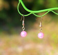 Delicate pink faux peral bead silver tone dangle pierced   EARRINGS