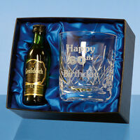 Personalised Crystal Whisky Glass + Single Malt Miniature Bottle in Gift Box