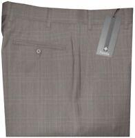 $325 NWT ZANELLA DEVON TAUPE TONES PLAID SUPER 120'S WOOL DRESS PANTS 36