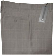 $325 NWT ZANELLA DEVON TAUPE TONES PLAID SUPER 120'S WOOL DRESS PANTS 36