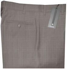 $325 NEW ZANELLA DEVON TAUPE TONES PLAID SUPER 120'S WOOL DRESS PANTS 36