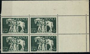 FRANCE 1943  Bloc x 4 YT n° 586 neuf ★★  luxe / MNH