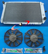 aluminum radiator for Ford EF EF2 EL NF NL DF DL Falcon Fairline + 2 × FANS